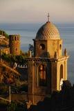 Заход солнца над башней церков Стоковое Изображение RF