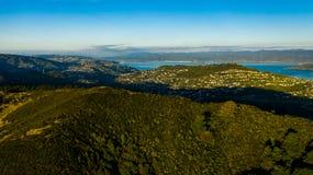 Заход солнца над Веллингтоном Новой Зеландией стоковое фото rf