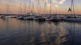 Заход солнца над гаванью Charlottetown летом стоковые изображения rf