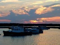 Заход солнца над гаванью Seabrook стоковые изображения