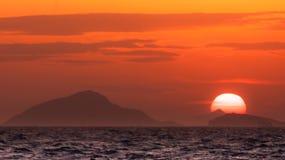 Заход солнца над Дарданеллами стоковое фото rf