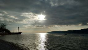 Заход солнца над Дарданеллами стоковая фотография