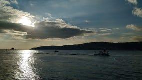 Заход солнца над Дарданеллами стоковые фото