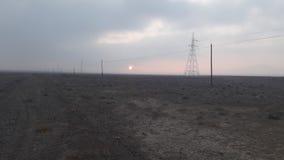 Заход солнца над долиной пустыни Стоковое фото RF