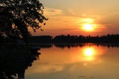 Заход солнца над Дунаем, Болгарией стоковая фотография rf