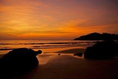 Заход солнца над заливом Бенгалии Стоковое Изображение RF