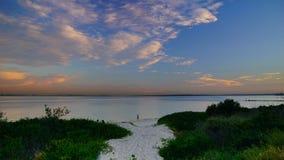 Заход солнца над заливом Брайтона Le Песка стоковая фотография