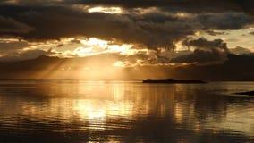 Заход солнца над заливом около Hofn Стоковая Фотография RF