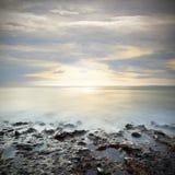 Заход солнца над морем Стоковое Изображение RF