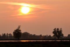 Заход солнца над озером в национальном парке в Германии Стоковые Изображения