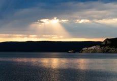 Заход солнца над озером Йеллоустоном Стоковая Фотография RF