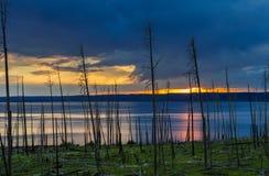 Заход солнца над озером Йеллоустоном Стоковая Фотография