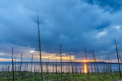 Заход солнца над озером Йеллоустоном Стоковое Изображение RF