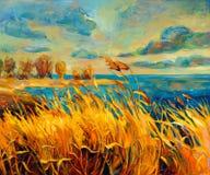 Заход солнца над озером бесплатная иллюстрация