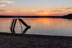 Заход солнца над озером Svet - Trebon, чехией Стоковые Фото