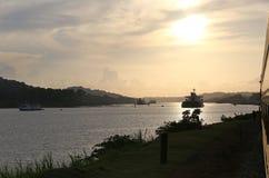 Заход солнца над Панамским Каналом Стоковое Изображение