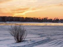 Заход солнца над покрытым снег побережьем Ob стоковая фотография