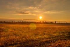 Заход солнца над полем в Хорватии Стоковая Фотография RF