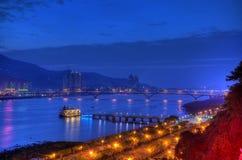 Заход солнца над рекой Tamsui, северным Тайвань Стоковое Изображение