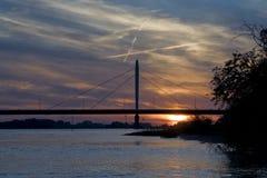 Заход солнца над рекой Waal Стоковые Изображения RF