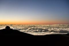 Заход солнца над снежным ландшафтом Стоковое Изображение
