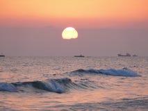 Заход солнца над Средиземным морем Стоковое Изображение