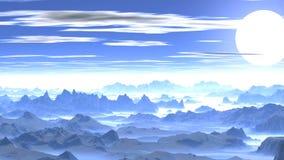 Заход солнца над туманными горами видеоматериал