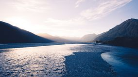 Заход солнца над южными Альпами стоковые фото