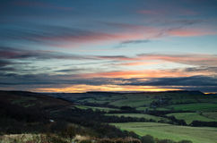 Заход солнца над Edlingham Стоковая Фотография