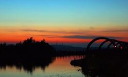 Заход солнца над Falkirk стоковое фото rf