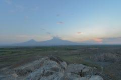 Заход солнца над Mount Ararat, Арменией стоковая фотография rf