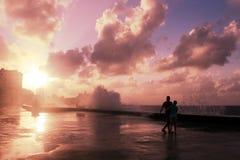 Заход солнца на ³ n Malecà стоковые фото