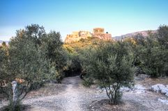 Заход солнца на акрополе в Афинах, Греции Стоковая Фотография RF