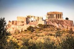 Заход солнца на акрополе в Афинах, Греции Стоковое Изображение