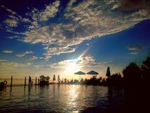 Заход солнца на бассейне Стоковое Изображение