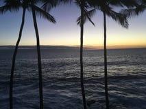 Заход солнца на большом острове стоковая фотография
