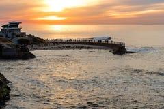 Заход солнца на бухте La Jolla, Сан-Диего, Калифорния стоковые фотографии rf