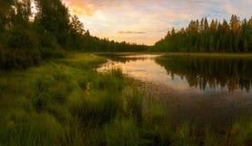 Заход солнца на верхнем озере Стоковые Фото