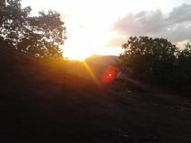 Заход солнца на вечере стоковое изображение