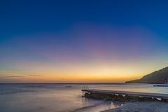 Заход солнца на взглядах Curacao пляжа PotoMari Стоковая Фотография RF