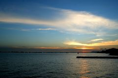 Заход солнца на восточном побережье Стоковое Фото