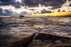 Заход солнца на Галвестон стоковое изображение rf