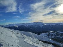 Заход солнца на горах Стоковое Изображение RF