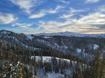 Заход солнца на горах Стоковое Изображение