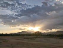 Заход солнца на задворк Стоковые Изображения