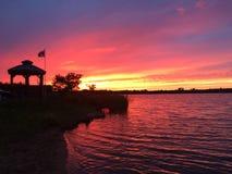 Заход солнца на заливе Стоковые Фото