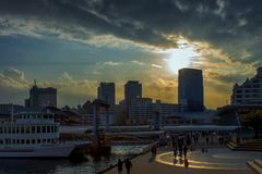 Заход солнца на Кобе стоковая фотография rf