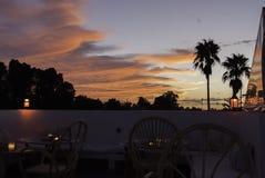 Заход солнца на крыше Marrakech стоковые фотографии rf