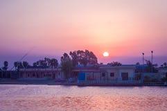 Заход солнца на летний день Esmaeilia стоковая фотография