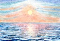 Заход солнца на море иллюстрация штока